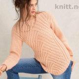 Вязаный пуловер в технике энтрелак