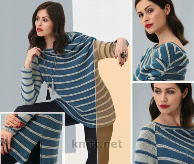 Вязаный спицами полосатый пуловер