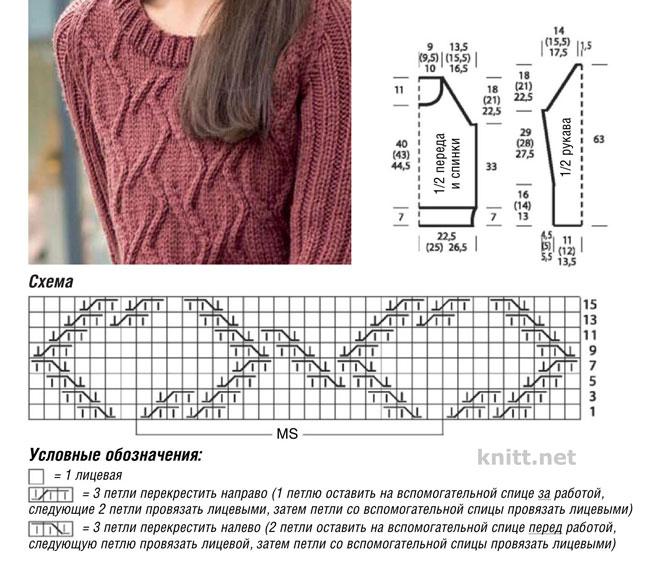 Вязаный спицами пуловер из кос