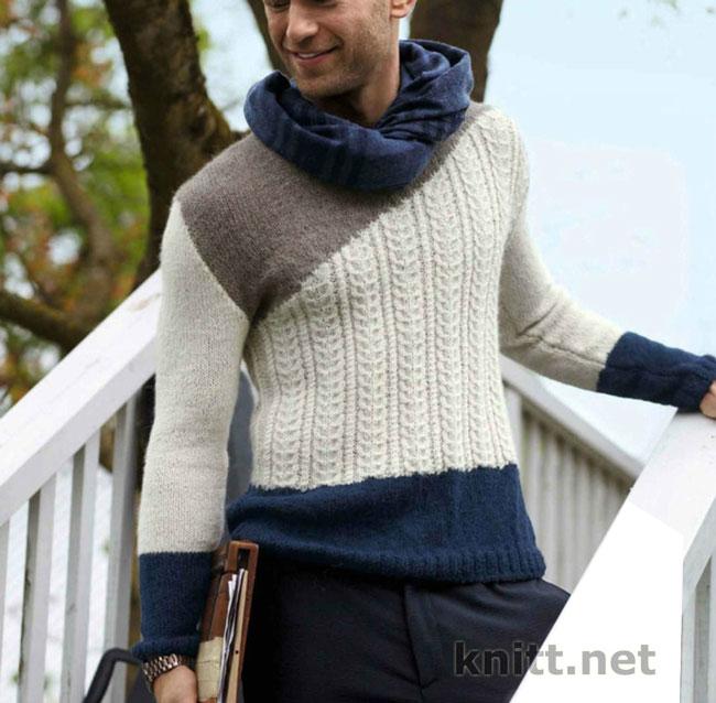 Вязаный трехцветный мужской пуловер