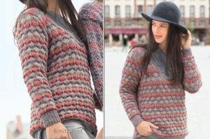 Вязаный трехцветный пуловер