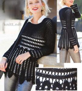 Ажурный пуловер крючком (брюггское кружево)