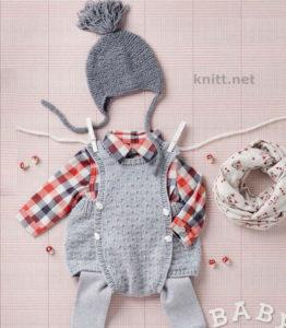 Детский комплект шапочка и короткие штанишки с грудкой