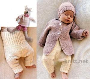 Детский вязаный комплект: жакет, штанишки и шапочка