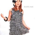 Детское платье из ленточной пряжи