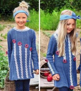 Детское платье с узором косы и цветами