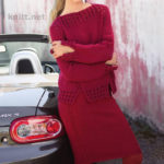 Пуловер и юбка ярко-красного цвета спицами