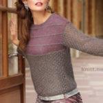 Пуловер с ажурным узором и кокеткой в полоску