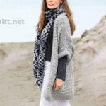Светло-серый жилет и меланжевый шарф спицами