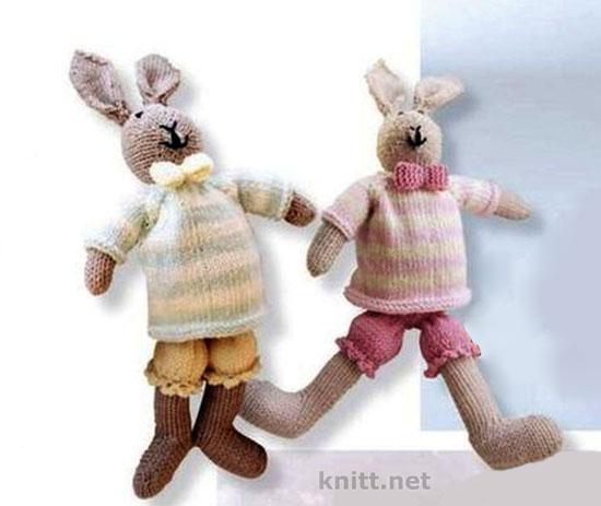 Вязаные игрушки заяц и зайчиха
