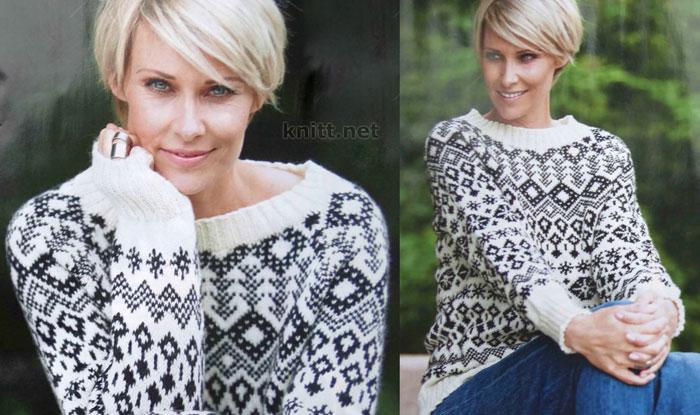 Вязаный черно-белый пуловер с норвежским узором