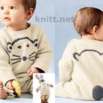 Вязаный детский комбинезон с вышивкой