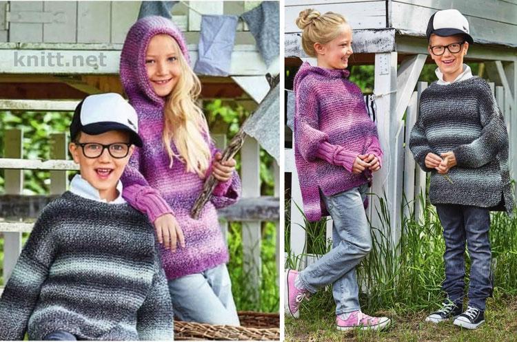 Вязаный пуловер для девочки и нарукавники