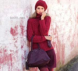 Вязаный пуловер с косами и шапка