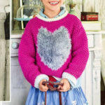 Вязаный пуловер с мотивом сердечко