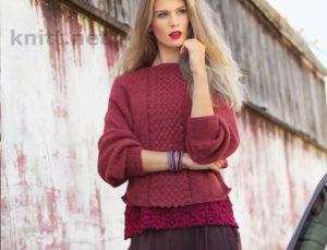Вязаный пуловер со вставкой плетеного узора