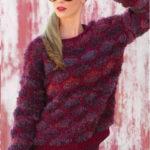 Вязаный женский пуловер с узором из сот