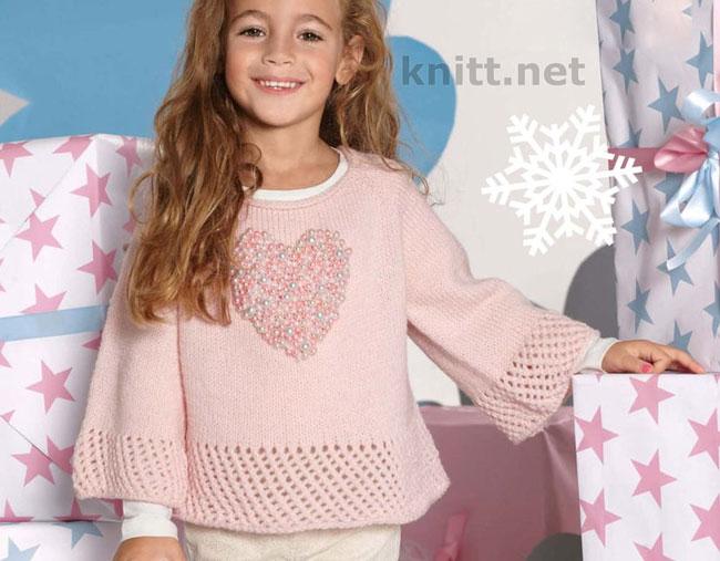 Вязаная туника-пуловер с бусинками