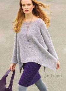 Вязаные пуловер-пончо и лиловая юбка