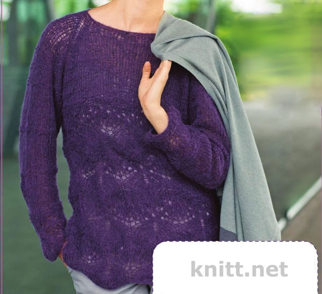 Вязаный ажурный пуловер реглан