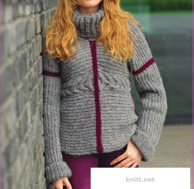 Вязаный серый пуловер в стиле пэчворк