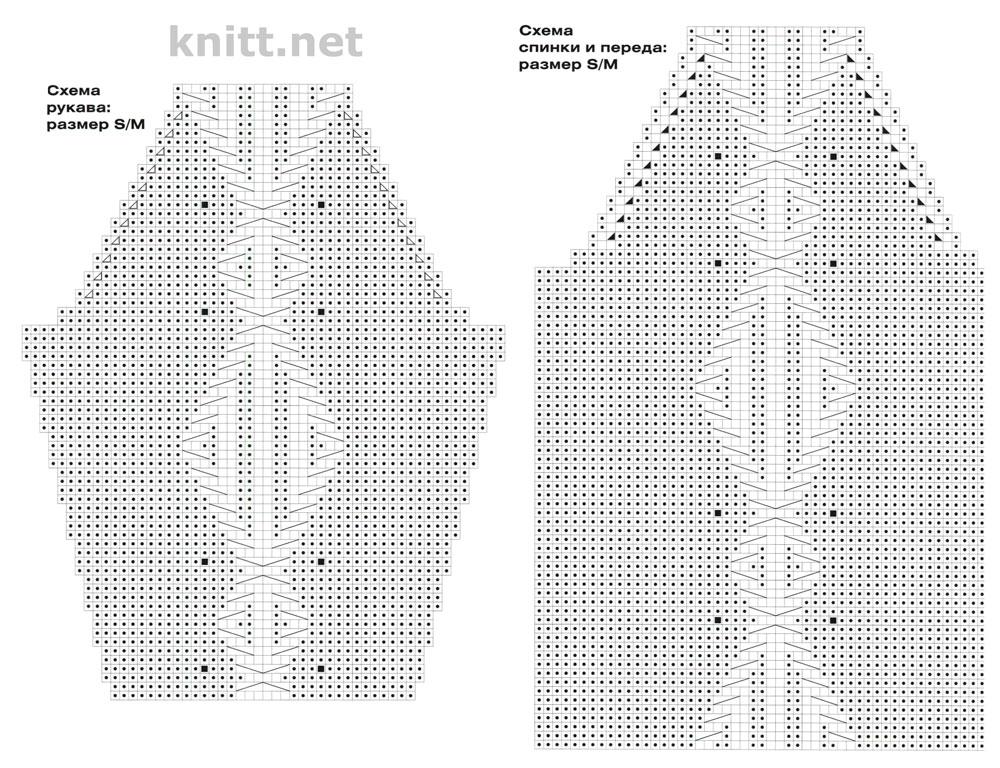 Вязаный свитер с рельефным узором