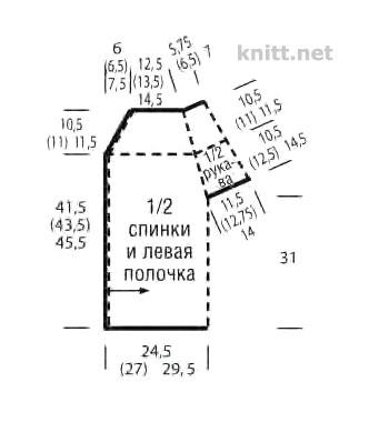 Связанный поперек жакет с короткими рукавами