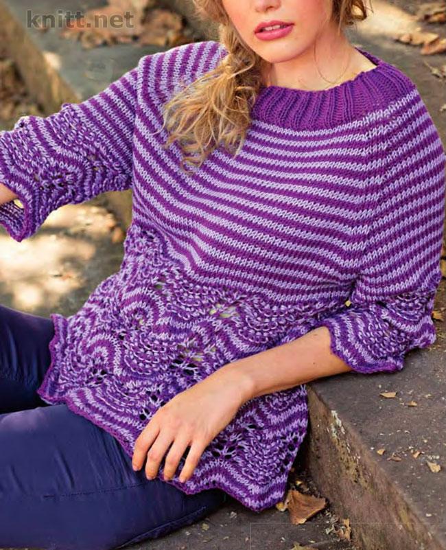 Вязаный пуловер в полоску с волнистым узором