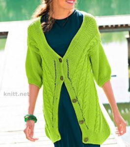 Вязаный ярко-зеленый жакет