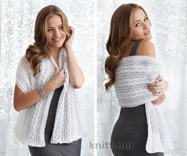 Вязаная спицами шарф-шаль
