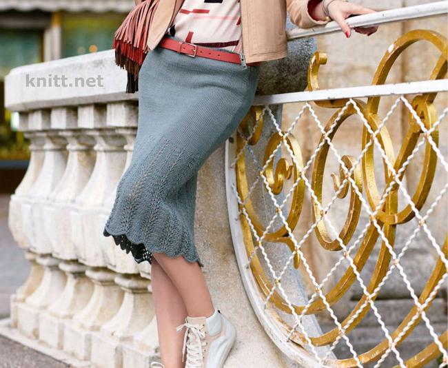 Вязаная юбка с ажурным узором
