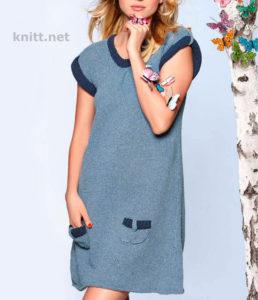 Вязаное платье-туника спицами