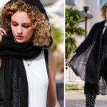 Вязаные спицами тонкое пальто и шарф