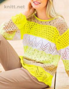 Вязаный ажурный пуловер спицами