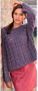 Вязаный просторный пуловер с ажурным узором