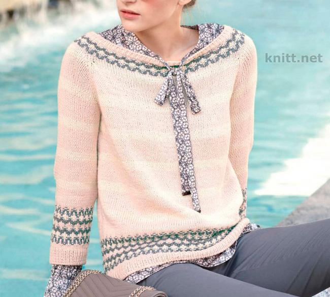 Вязаный пуловер реглан с жаккардовым узором