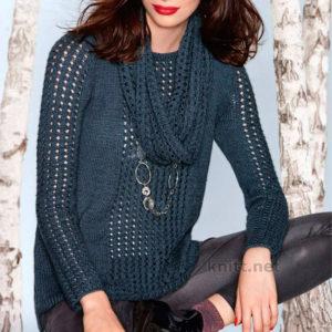 Вязаный пуловер с ажурными вставками и снуд