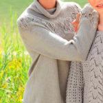 Вязаный спицами пуловер с круглой кокеткой