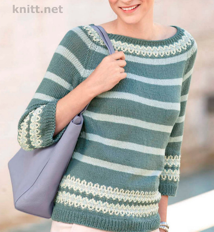 Вязаный спицами зеленый пуловер реглан