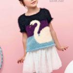 Пуловер для девочки с жаккардовым узором лебедь
