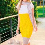 Вязаное спицами трехцветное платье