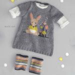 Детское платье и гетры спицами с жаккардовым узором