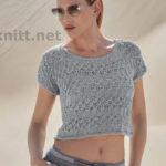 Укороченный пуловер спицами