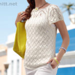 Вязаный белый пуловер с коротким рукавом
