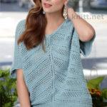 Свободный пуловер для женщин спицами