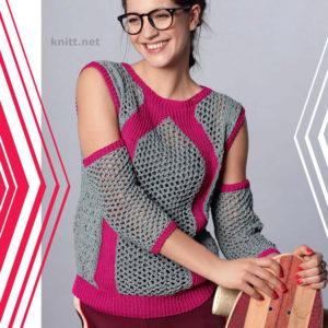 Вязаный пуловер с узорами и нарукавниками