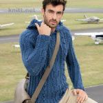 Вязаный мужской пуловер с аранами и клиновидным регланом