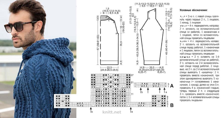 Вязаный мужской пуловер с аранами