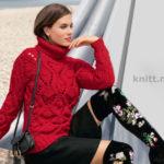 Вязаный пуловер красного цвета с узорами