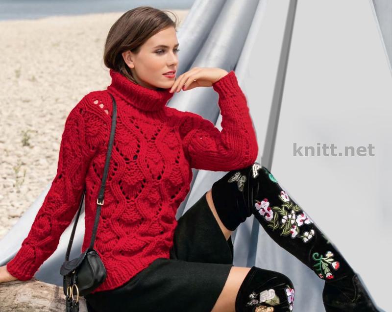 Вязаный пуловер красного цвета